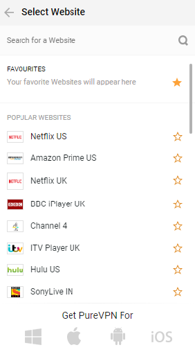 Channels in PureVPN Chrome Extension
